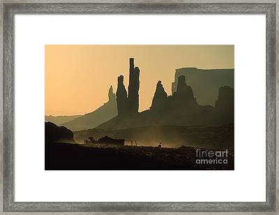 Totems At Sunrise Framed Print