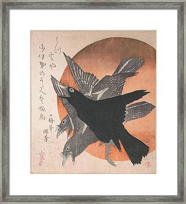 Totoya Hokkei    Three Crows Against The Rising Sun From The Series Three Sheets Mihira No Uchi Framed Print