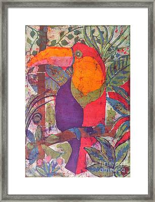 Toucan Batik Framed Print by Caroline Street