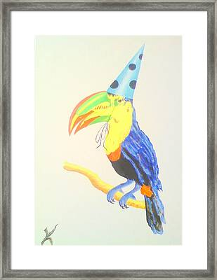 Toucan With  Party Hat Framed Print by Roger Golden