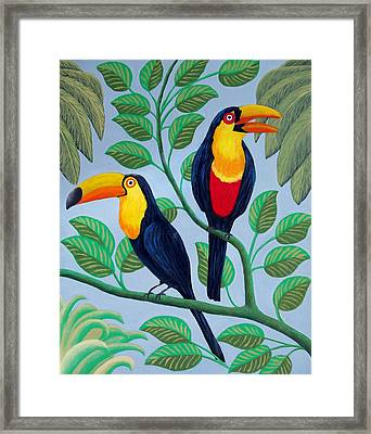 Framed Print featuring the painting Toucans by Frederic Kohli