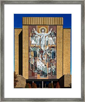 Touchdown Jesus - Hesburgh Library Framed Print by Mountain Dreams