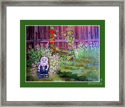 Framed Print featuring the painting Touched By A Gnome In Grandma's Secret Garden by Kimberlee Baxter