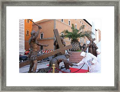 Touching Jesus Framed Print by Munir Alawi