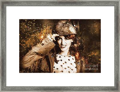 Tough Pin Up Soldier Framed Print by Jorgo Photography - Wall Art Gallery