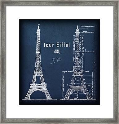 Tour Eiffel Blueprint Plain Border Framed Print