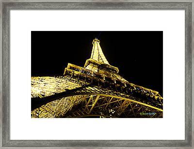 Tour Eiffel - La Nuit Par Le Bas Framed Print