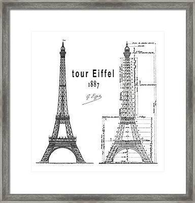 Tour Eiffel White 1887 Framed Print