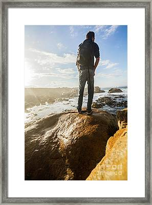 Tourist Looking At The Ocean Framed Print by Jorgo Photography - Wall Art Gallery