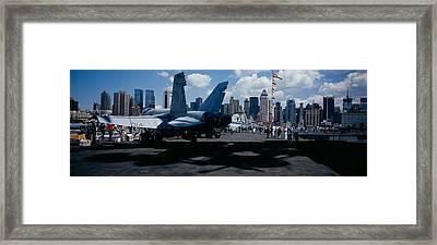 Tourist Near An Aircraft Carrier Framed Print
