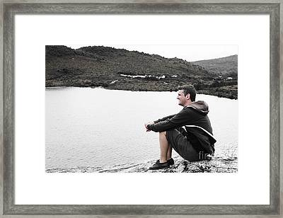 Tourist Seated At Dove Lake Lookout In Tasmania Framed Print by Jorgo Photography - Wall Art Gallery