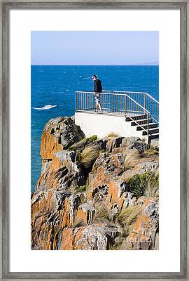 Tourist Standing On The Mersey Bluff Rock Lookout Framed Print by Jorgo Photography - Wall Art Gallery