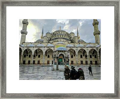 Tourists And The Blue Mosque Framed Print
