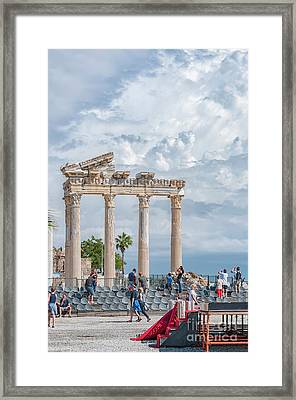 Tourists At Apollo Temple Framed Print