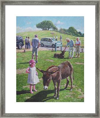 Framed Print featuring the painting Tourists At Boltons Bench New Forest  by Martin Davey
