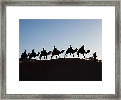 Tourists On Camels Along Top Of Erg Framed Print by Panoramic Images