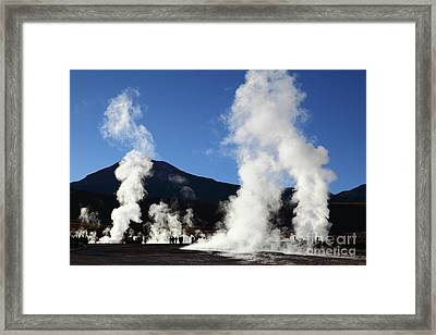 Tourists Visiting The El Tatio Geysers Chile Framed Print by James Brunker