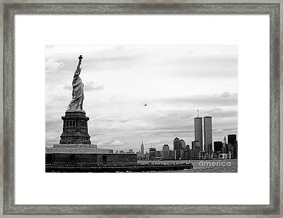 Tourists Visiting The Statue Of Liberty Framed Print