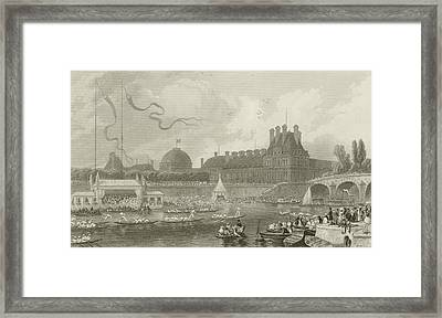 Tournay On The Seine During The July Fetes Framed Print