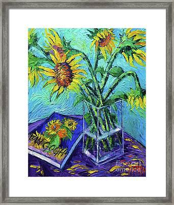 Tournesols Pour Vincent Framed Print by Mona Edulesco