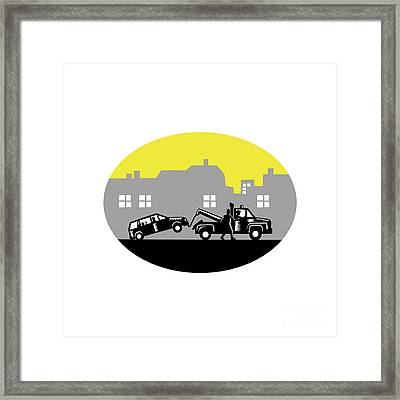 Tow Truck Towing Car Buildings Oval Woodcut Framed Print