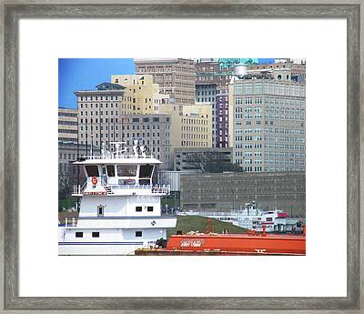 Towboat Robt G Stone At Memphis Tn Framed Print by Lizi Beard-Ward