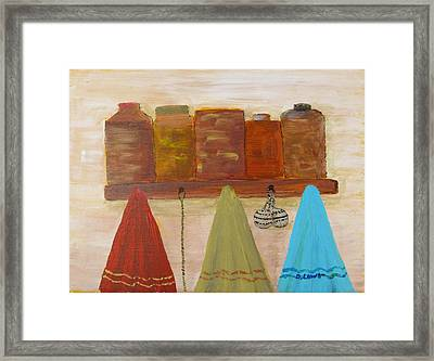 Towels And Canisters Framed Print by Danny Lowe