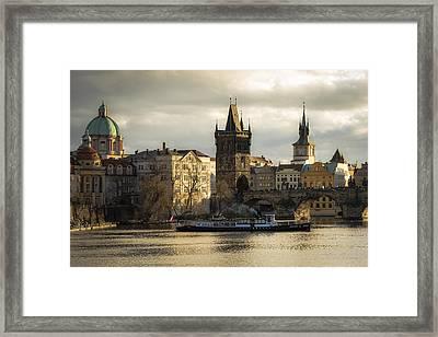 Tower And Churches Adjacent To Charles Bridge Framed Print by Marek Boguszak