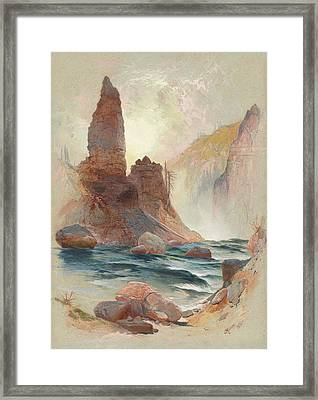 Tower At Tower Falls, Yellowstone Framed Print by Thomas Moran