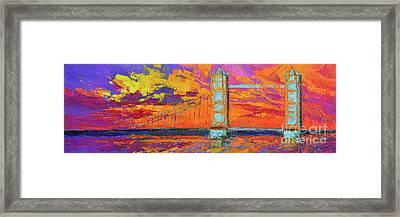 Tower Bridge Colorful Painting, Under Vibrant Sunset Framed Print
