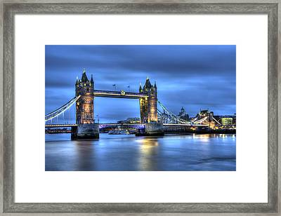 Framed Print featuring the photograph Tower Bridge London Blue Hour by Shawn Everhart