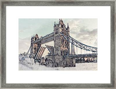Framed Print featuring the digital art Tower Bridge by Pennie  McCracken