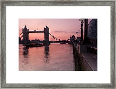 Tower Bridge Sunrise Framed Print by Donald Davis