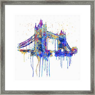 Tower Bridge Watercolor Framed Print by Marian Voicu