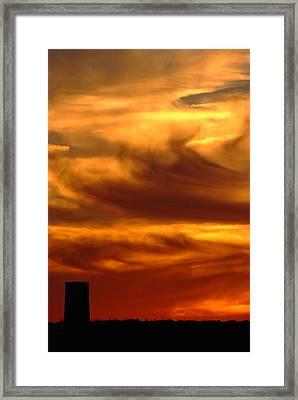 Tower In Sunset Framed Print