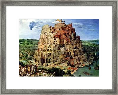 Tower Of Babel Framed Print by Pieter Bruegel