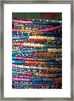 Framed Print featuring the photograph Tower Of Baskets by Gwyn Newcombe