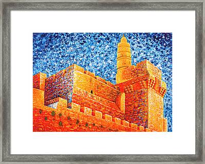 Framed Print featuring the painting Tower Of David At Night Jerusalem Original Palette Knife Painting by Georgeta Blanaru