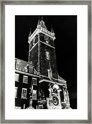 Tower Of Old Town Hall In Prague. Black Framed Print by Jenny Rainbow