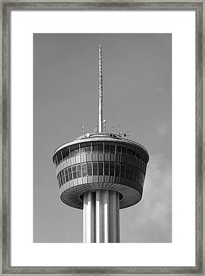 Tower Of The Americas San Antonio Texas - Black And White Framed Print