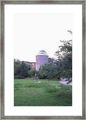 Tower Of The Future, Statue And Lying Woman Framed Print