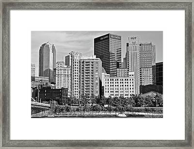 Tower Over Pittsburgh In Black And White Framed Print