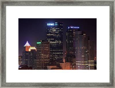 Towering Buildings Of Pittsburgh Framed Print by Frozen in Time Fine Art Photography