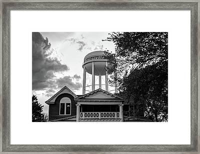 Towering Over Downtown Bentonville - Northwest Arkansas - Black - White Framed Print
