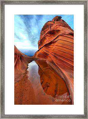 Towering Sandstone Reflections Framed Print by Adam Jewell