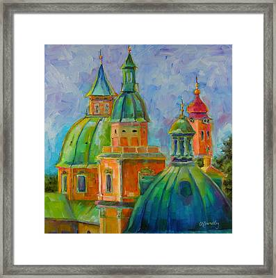 Framed Print featuring the painting Towers Of Salzburg by Chris Brandley