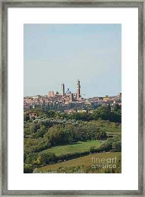 Towers Of Siena In Italy In The Distance Framed Print by DejaVu Designs