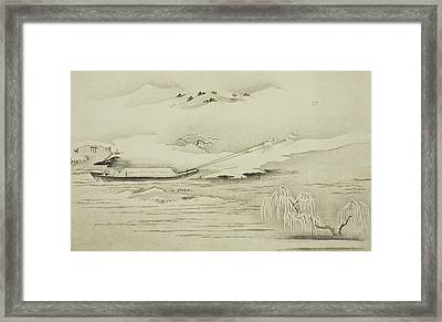 Towing A Barge In The Snow Framed Print by Kitagawa Utamaro