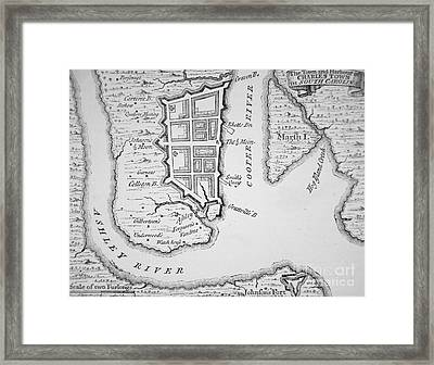 Town And Harbor Of Charleston South Carolina Framed Print by American School