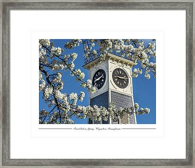 Town Clock In Spring Framed Print